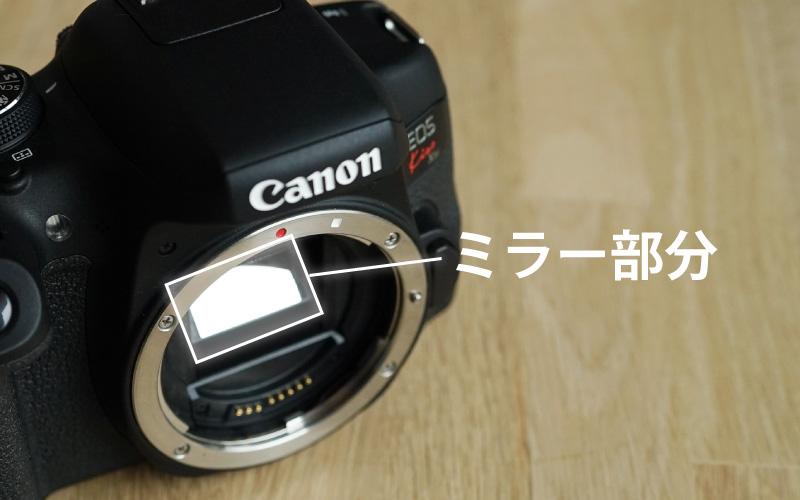 一眼レフカメラのミラー部分